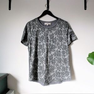 LOFT Silver and Gray Jacquard Tee with Roses